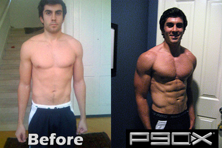 P90X results day 1, day 90, before and after