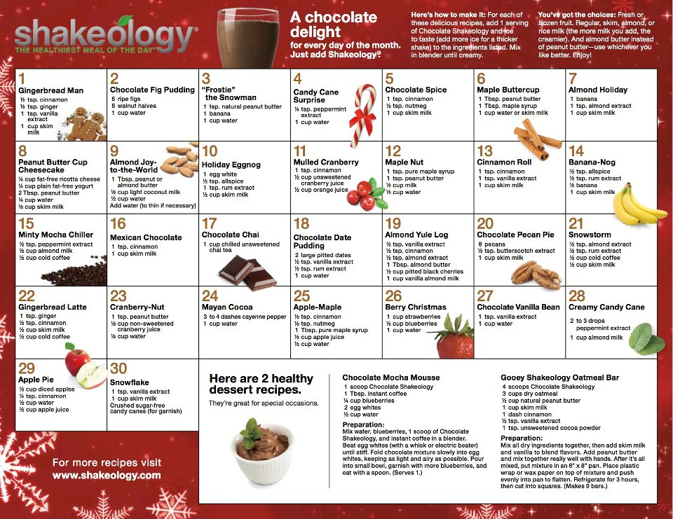 Holiday Shakeology Recipes!